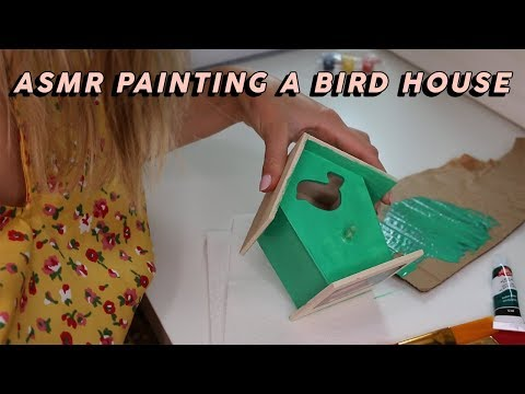 ASMR PAINTING A BIRD HOUSE (Tapping, Brush Strokes…)   GwenGwiz