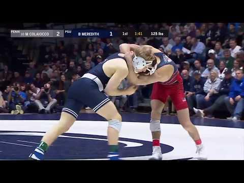 125 LBS: Brandon Meredith (Penn State) vs. #10 Michael Colaiocco (Penn) | 2019 B1G Wrestling