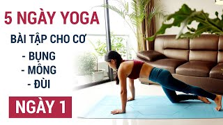 Yoga cho cơ bụng,mông và đùi | Thử thách 1 tuần tập Yoga tại nhà