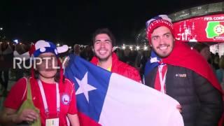 Russia: Chile fans celebrate semi-final victory over Portugal