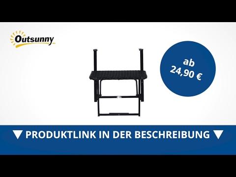 Outsunny Polyrattan Balkonhängetisch 58x55cm Balkontisch Klapptisch  - direkt kaufen!