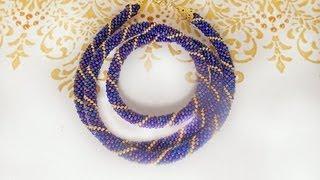 Вязаный жгут из бисера. Knitted plait of beads.