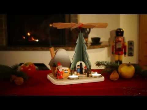Seiffen Weihnachtspyramide für Teelichte mit Räucherhaus Erzgebirge