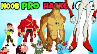 NOOB vs PRO vs HACKER vs GOD | In Ben 10 Game | Oggy, Jack, Shinchan, Bob || Daddy Gaming 😍