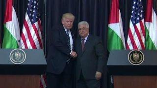 President Trump addresses the press in Palestine