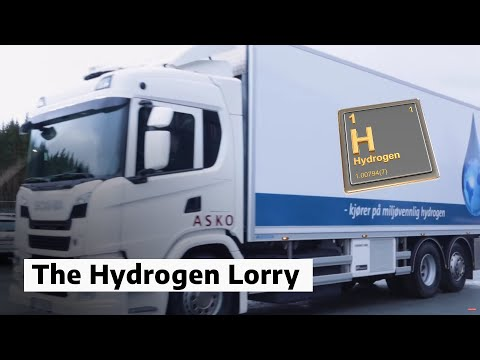 Asko's hydrogen-powered goods lorry at the official opening. Photo: Karianne Hogne Teigland