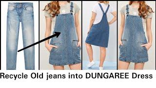 DIY: Convert/Reuse Old Mens Jeans Into Girls DUNGAREE DRESS