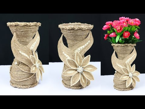 How to make a flower vase with jute rope and plastic bottle | best out of waste
