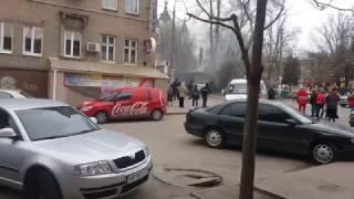 Горящий трамвай Анголенко Запорожье