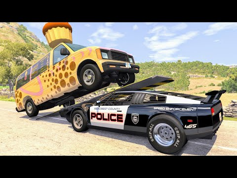 Crazy Police Chases #95 - BeamNG Drive Crashes
