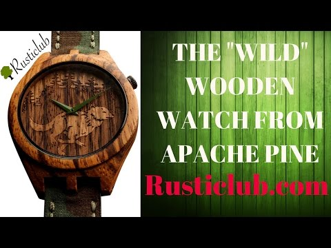 "(4K) ""WILD WOLF"" WOODEN MEN'S WATCH BY APACHE PINE REVIEW"