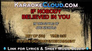 Joe Nichols - If Nobody Believed In You (Backing Track)