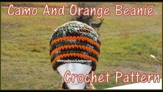 Camo And Orange Beanie Crochet Pattern