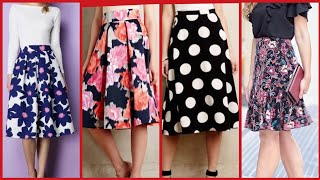 Simple & Stylish Knee Length Floral Skirts Design And Outfit Ideas For Girls And Women