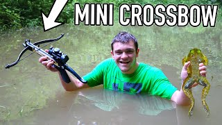 Hunting BULLFROGS with Mini-Crossbow! (Catch, Clean, Cook)
