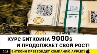 КУРС БИТКОИН $9000. Почему курс биткоина растет?