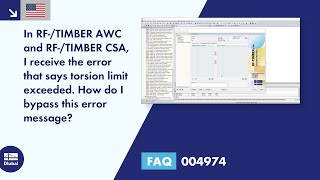 FAQ 004974 | In RF-/TIMBER AWC and RF-/TIMBER CSA, I receive the error that says torsion limit exceeded. How do I bypass this error message?