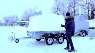 Прицеп с крышкой МЗСА 817730.012. Обслуживание оцинковки зимой. Двухосный прицеп. ЦЛП АРИВА