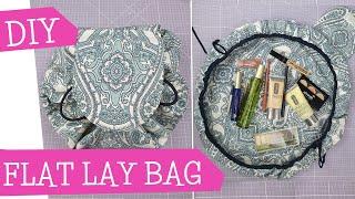 FLAT LAY BAG Kosmetiktasche nähen   DIY drawstring cosmetic bag   magic makeup bag   mommymade