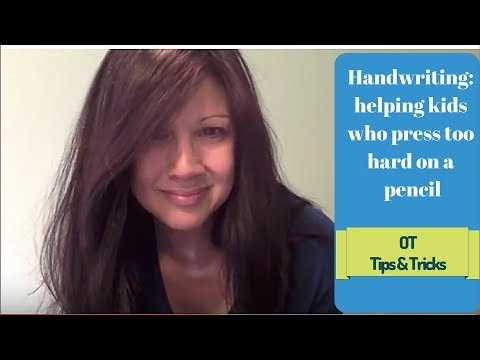 Screenshot of video: OT tricks to prevent a Student pressing too hard when they write