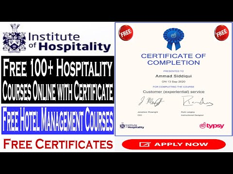 Free 100+ Hospitality Courses Online with Certificate, Free Hotel ...