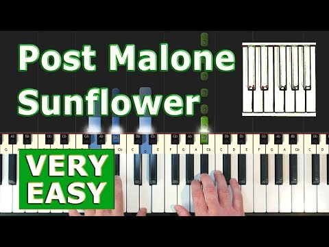 Post Malone, Swae Lee - Sunflower - VERY EASY Piano Tutorial - (Spider-Man: Into the Spider-Verse)