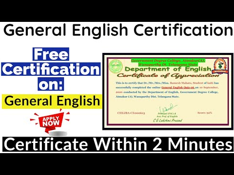 General English Free Certification | Free Online Courses With ...