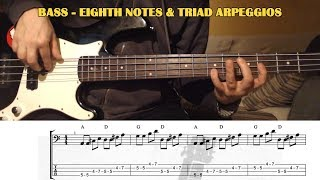 Bass TRIAD ARPEGGIOS Easy Song Exercise - BASS GUITAR LESSON with TAB