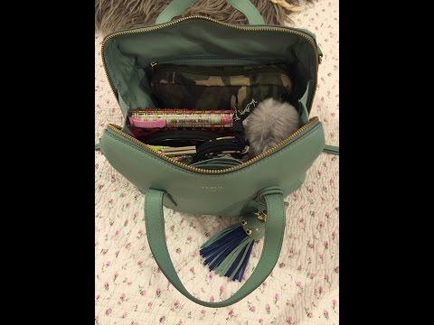 Fossil Sydney Satchel Sea Glass what's in my bag