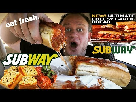 SUBWAY New! ☆ULTIMATE CHEESY GARLIC BREAD☆ Meatball Sub FOOD REVIEW!!!