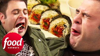 Adam Faces A Sushi Challenge With A Spice 80 Times Hotter Than A Jalapeño   Man v Food