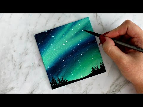 northern lights miniature painting by artbybee