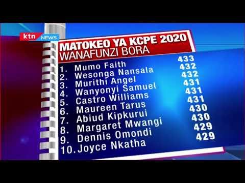 Matokeo ya KCPE 2020: Orodha ya wanafunzi bora katika mtihani wa KCPE 2020