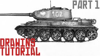 How To Draw Tank T34  Drawing Tutorial Part 1
