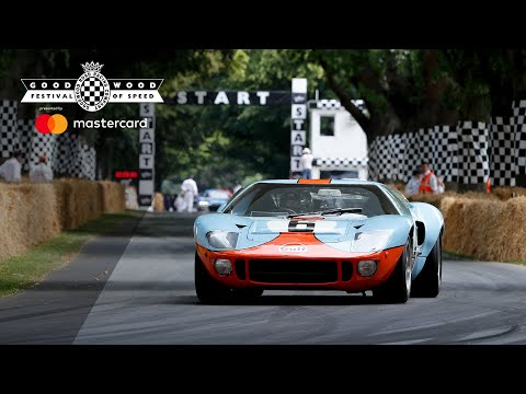 Legendary double Le Mans winning Gulf Ford GT40's victory parade at Goodwood