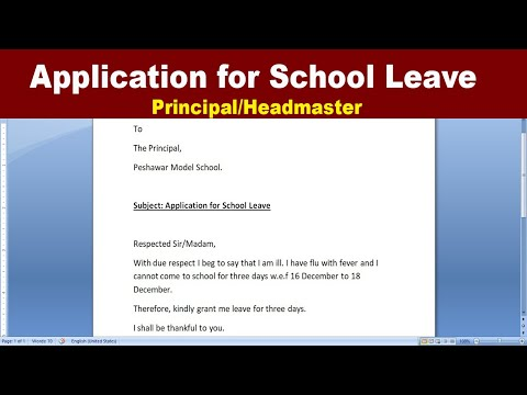 How to Write Leave application for School Students to Principal - Write leave application in English