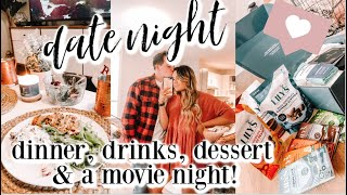 COUPLES AT HOME DATE NIGHT ROUTINE | fun dinner, making drinks, movie & healthy dessert!! + GIVEAWAY