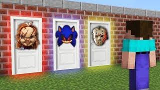 КАКУЮ СТРАШНУЮ ДВЕРЬ ВЫБЕРЕТ НУБ В МАЙНКРАФТ? Кукла Чаки, Соник Убийца и Джефф Убийца в Minecraft