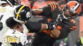 Reacting to Myles Garrett striking Mason Rudolph with helmet in Browns-Steelers brawl   SC with SVP