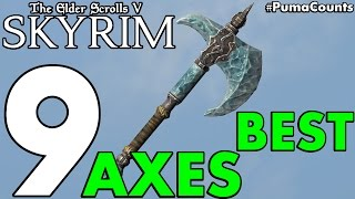 Top 9 Best One Handed War Axes and Two Handed Battleaxes in Skyrim Remastered #PumaCounts