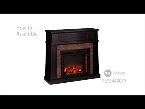 FE9344: Crestwick Faux Stone Electric Media Fireplace - Black Assembly Video
