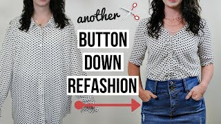 Ruched Top From Oversized Button Up Refashion! | Episode 13