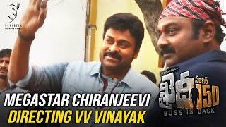 Video Megastar Chiranjeevi Directing VV Vinayak || Khaidi No 150 || Kajal Aggarwal || DSP
