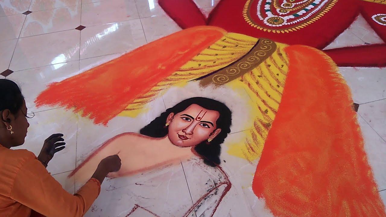 large portrait rangoli design of god by rajashri nitin