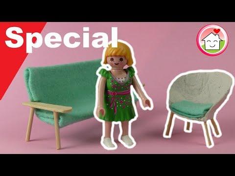 Playmobil deutsch - Pimp my PLAYMOBIL - Sofa und Sessel - Wohnzimmer DIY - Familie Hauser