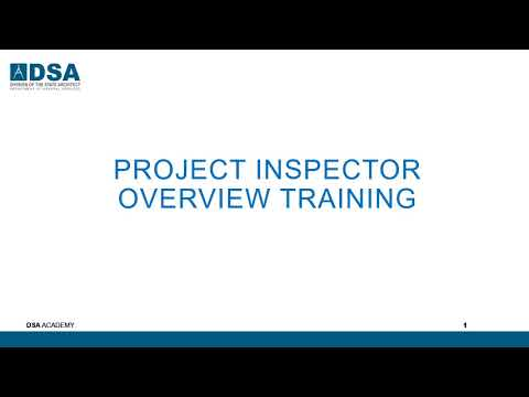 DSA Project Inspector Overview Training - YouTube