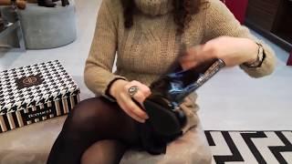 Vídeo Bota em Couro Verniz Ferrucci Cor Preto