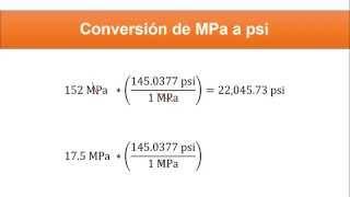 Conversión MPa a psi
