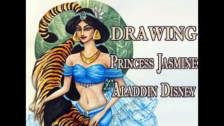 Drawing Jasmine Disney Princess And Tiger (Aladdin) - Illustration Art Creation Watercolor Painting
