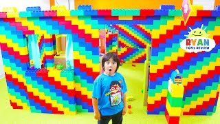24 hours Giant lego box fort house with Ryan!!!